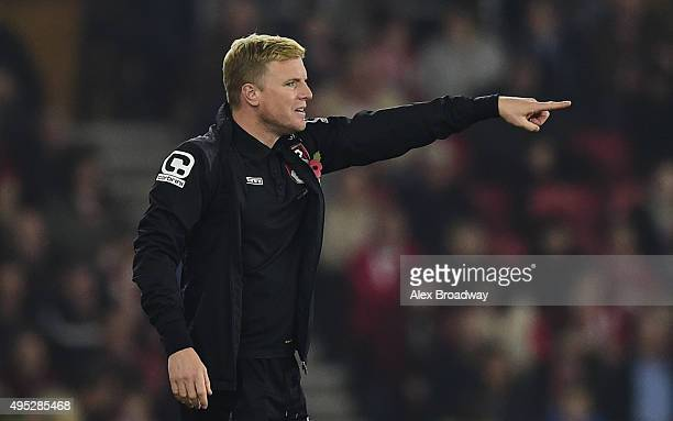 Eddie Howe manager of AFC Bournemouth gestures during the Barclays Premier League match between Southampton and AFC Bournemouth at St Mary's Stadium...