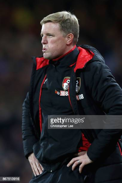 Eddie Howe Manager of AFC Bournemouth looks dejected after the Premier League match between AFC Bournemouth and Chelsea at Vitality Stadium on...