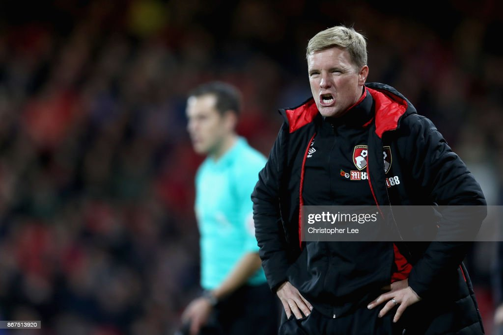 Eddie Howe, Manager of AFC Bournemouth looks dejected after the Premier League match between AFC Bournemouth and Chelsea at Vitality Stadium on October 28, 2017 in Bournemouth, England.