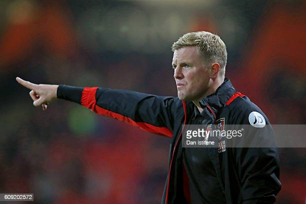Eddie Howe Manager of AFC Bournemouth looks on during the EFL Cup Third Round match between AFC Bournemouth and Preston North End at Goldsands...