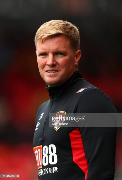 Eddie Howe manager of AFC Bournemouth looks on from the touchline during the preseason friendly match between AFC Bournemouth and Valencia CF at...
