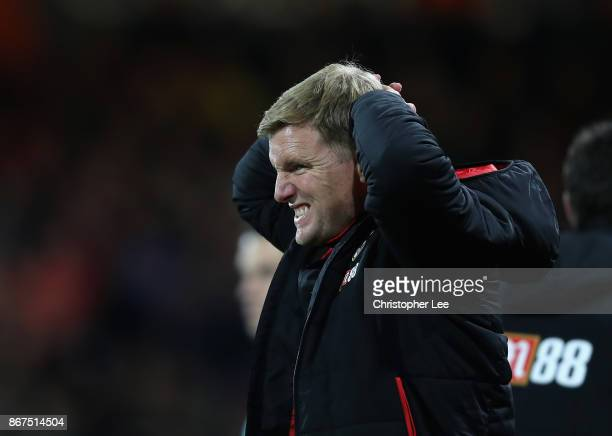 Eddie Howe Manager of AFC Bournemouth reacts during the Premier League match between AFC Bournemouth and Chelsea at Vitality Stadium on October 28...