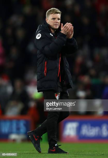 Eddie Howe Manager of AFC Bournemouth shows appreciation to the fans after the Premier League match between AFC Bournemouth and Swansea City at...