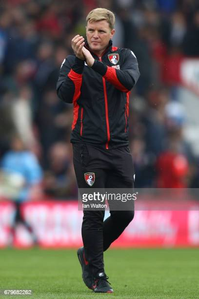 Eddie Howe Manager of AFC Bournemouth shows appreciation to the fans after the Premier League match between AFC Bournemouth and Stoke City at the...