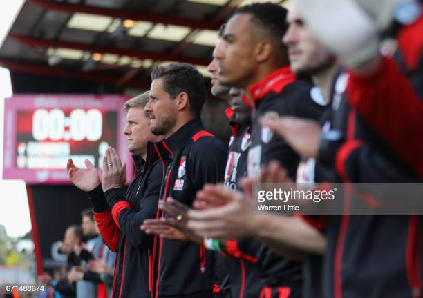 Eddie Howe Manager of AFC Bournemouth stands for a minute's applause during the Premier League match between AFC Bournemouth and Middlesbrough at the...