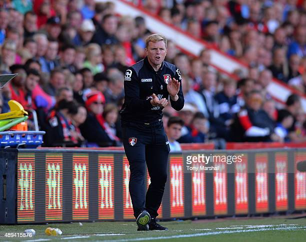 Eddie Howe Manager of AFC Bournemouthon the touch line during of the Barclays Premier League match between AFC Bournemouth and Sunderland at the...