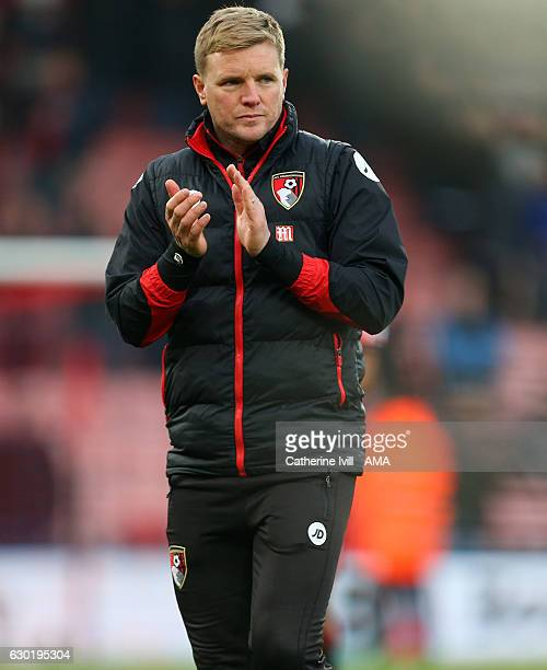 Eddie Howe manager of Bournemouth applauds after the Premier League match between AFC Bournemouth and Southampton at Vitality Stadium on December 18...
