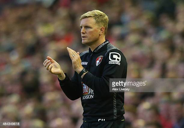 Eddie Howe manager of Bournemouth applauds during the Barclays Premier League match between Liverpool and AFC Bournemouth at Anfield on August 17...