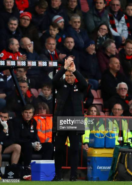 Eddie Howe manager of Bournemouth applauds his players during the Premier League match between AFC Bournemouth and Huddersfield Town at Vitality...
