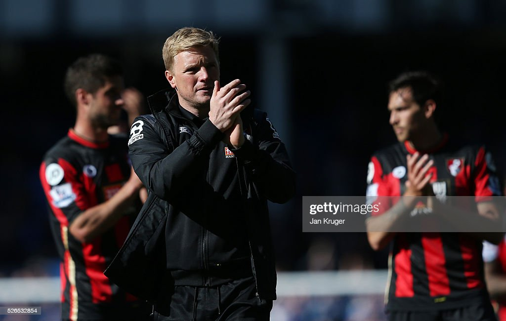 Eddie Howe Manager of Bournemouth applauds the away supporters after his team's 1-2 defeat in the Barclays Premier League match between Everton and A.F.C. Bournemouth at Goodison Park on April 30, 2016 in Liverpool, England.