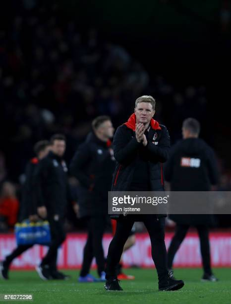 Eddie Howe manager of Bournemouth applauds the fans after the Premier League match between AFC Bournemouth and Huddersfield Town at Vitality Stadium...