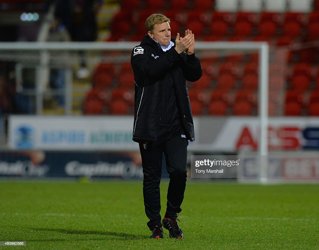 Eddie Howe, Manager of Bournemouth applauds the fans at the end of the FA Cup Third Round match between Rotherham United and Bournemouth at The New York Stadium on January 3, 2015 in Rotherham, England.