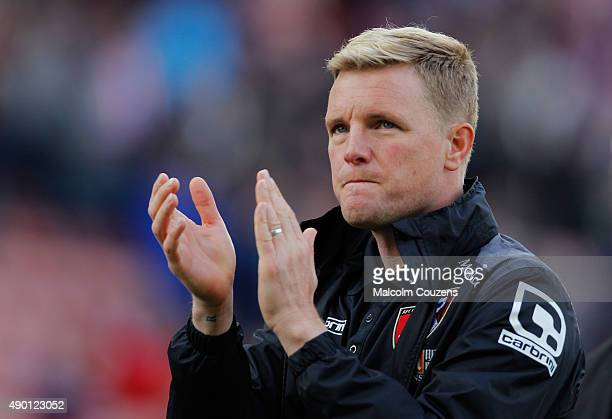 Eddie Howe Manager of Bournemouth applauds the supporters after his team's 12 defeat in the Barclays Premier League match between Stoke City and AFC...