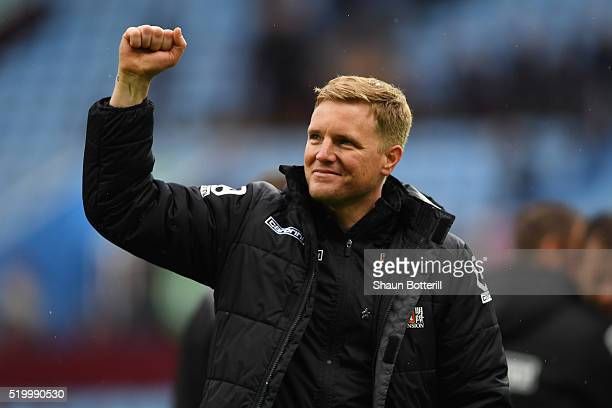 Eddie Howe Manager of Bournemouth celebrates his team's 21 win in the Barclays Premier League match between Aston Villa and AFC Bournemouth at Villa...