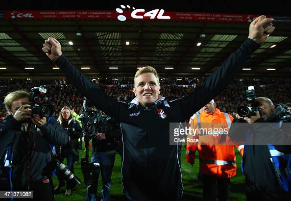 Eddie Howe manager of Bournemouth celebrates victory on the pitch after the Sky Bet Championship match between AFC Bournemouth and Bolton Wanderers...