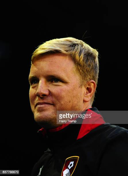 Eddie Howe Manager of Bournemouth during the Carabao Cup Second Round match between Birmingham City and AFC Bournemouth at St Andrews Stadium on...