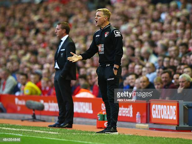 Eddie Howe manager of Bournemouth gives instructions as Brendan Rodgers manager of Liverpool looks on during the Barclays Premier League match...