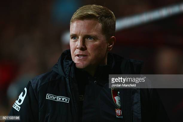 Eddie Howe Manager of Bournemouth is seen prior to the Barclays Premier League match between AFC Bournemouth and Manchester United at Vitality...