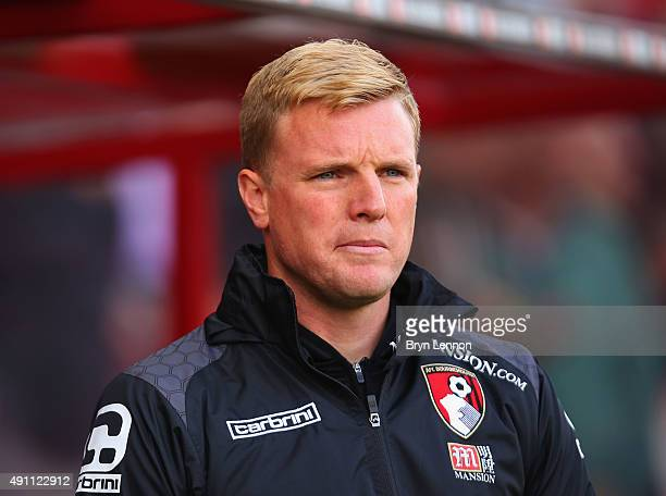 Eddie Howe Manager of Bournemouth looks on before the Barclays Premier League match between AFC Bournemouth and Watford at Vitality Stadium on...
