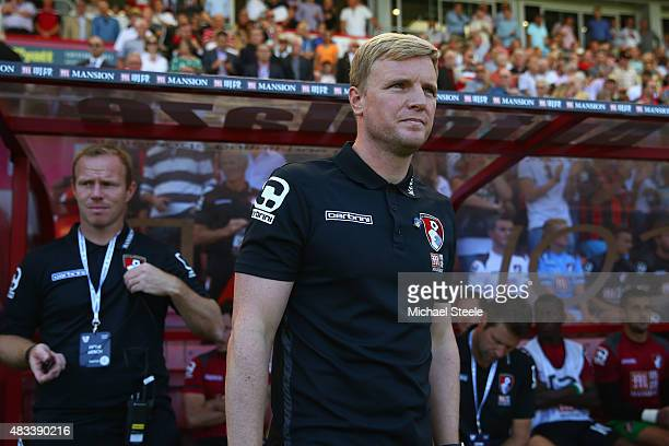 Eddie Howe Manager of Bournemouth looks on during the Barclays Premier League match between AFC Bournemouth and Aston Villa at Vitality Stadium on...