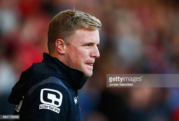 Eddie Howe Manager of Bournemouth looks on during the Barclays Premier League match between AFC Bournemouth and Tottenham Hotspur at Vitality Stadium...
