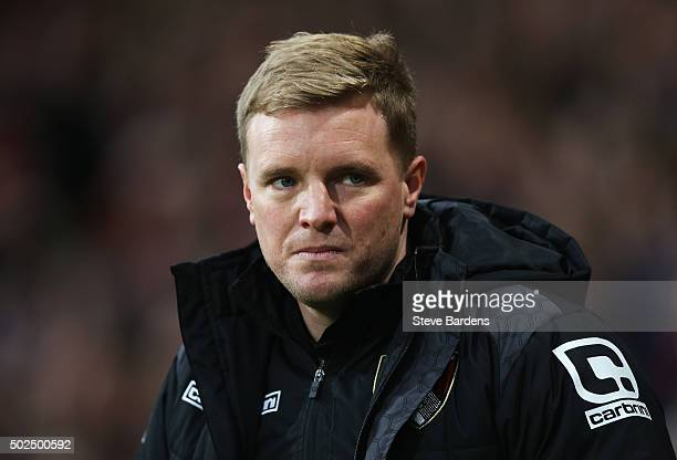 Eddie Howe manager of Bournemouth looks on during the Barclays Premier League match between AFC Bournemouth and Crystal Palace at Vitality Stadium on...