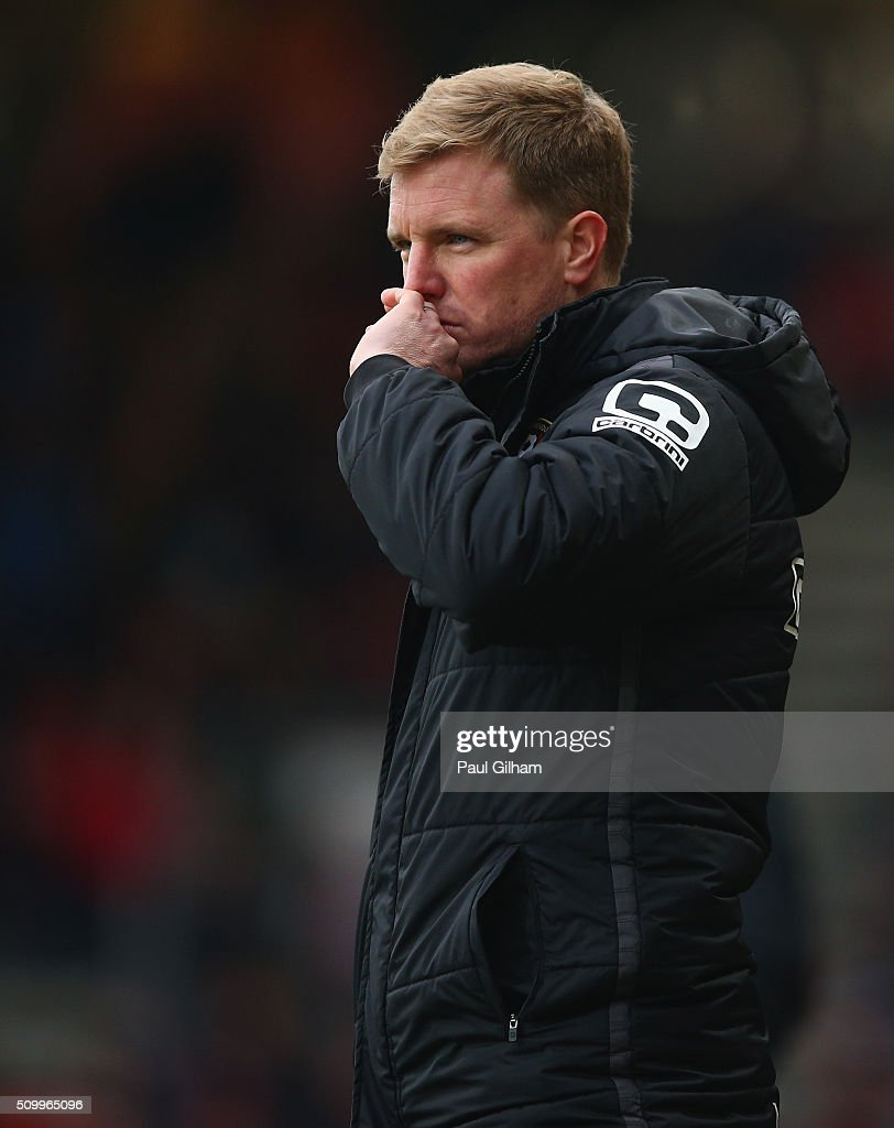<a gi-track='captionPersonalityLinkClicked' href=/galleries/search?phrase=Eddie+Howe&family=editorial&specificpeople=2919800 ng-click='$event.stopPropagation()'>Eddie Howe</a> Manager of Bournemouth looks on during the Barclays Premier League match between A.F.C. Bournemouth and Stoke City at Vitality Stadium on February 13, 2016 in Bournemouth, England.