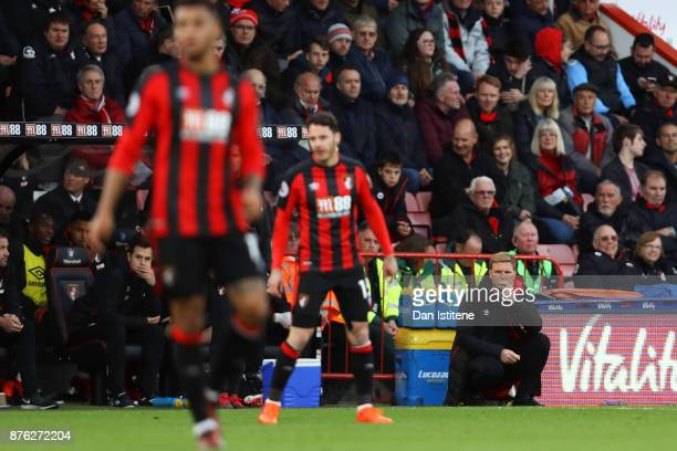 Eddie Howe manager of Bournemouth looks on during the Premier League match between AFC Bournemouth and Huddersfield Town at Vitality Stadium on...