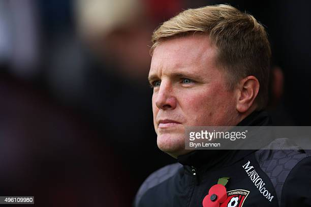 Eddie Howe Manager of Bournemouth looks on prior to the Barclays Premier League match between AFC Bournemouth and Newcastle United at Vitality...