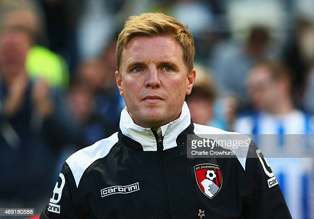 Eddie Howe manager of Bournemouth looks on prior to the Sky Bet Championship match between Brighton Hove Albion and AFC Bournemouth at Amex Stadium...