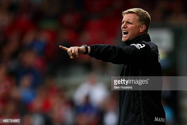 Eddie Howe Manager of Bournemouth reacts during the Barclays Premier League match between AFC Bournemouth and Leicester City at Vitality Stadium on...