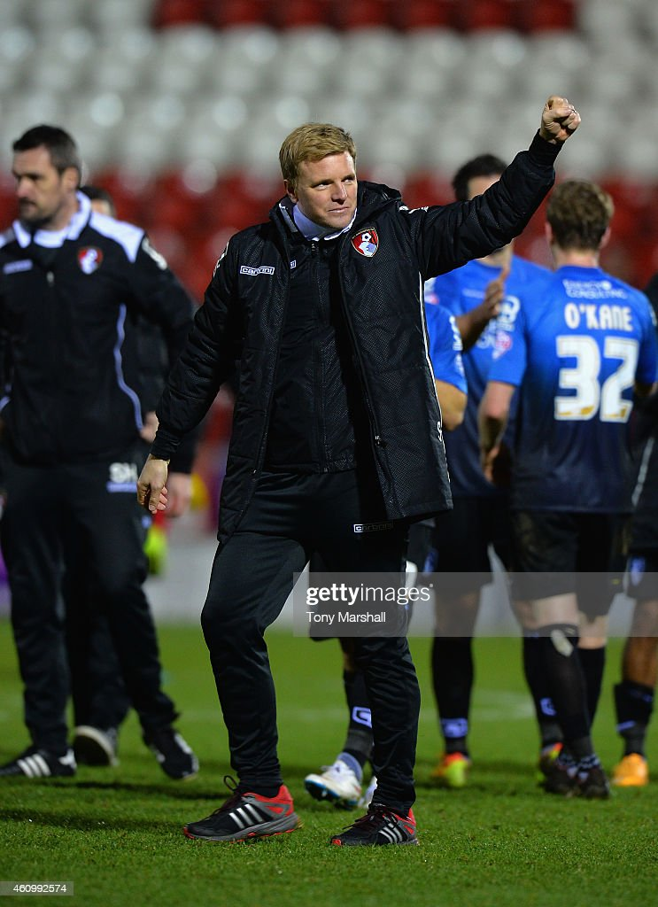Eddie Howe, Manager of Bournemouth salutes the fans at the end of the FA Cup Third Round match between Rotherham United and Bournemouth at The New York Stadium on January 3, 2015 in Rotherham, England.