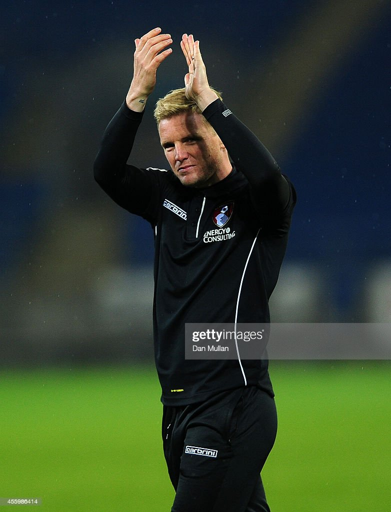 Eddie Howe, Manager of Bournemouth thanks the travelling fans following the Capital One Cup third round match between Cardiff City and Bournemouth at Cardiff City Stadium on September 23, 2014 in Cardiff, Wales.