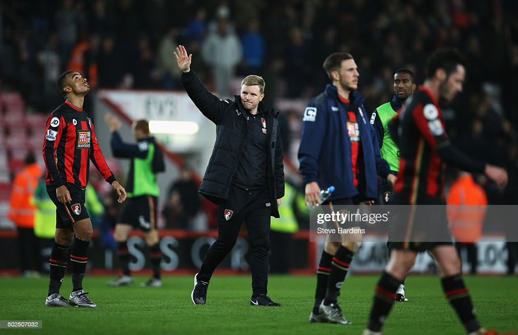 Eddie Howe, manager of Bournemouth waves to fans after the Barclays Premier League match between A.F.C. Bournemouth and Crystal Palace at Vitality Stadium on December 26, 2015 in Bournemouth, England.