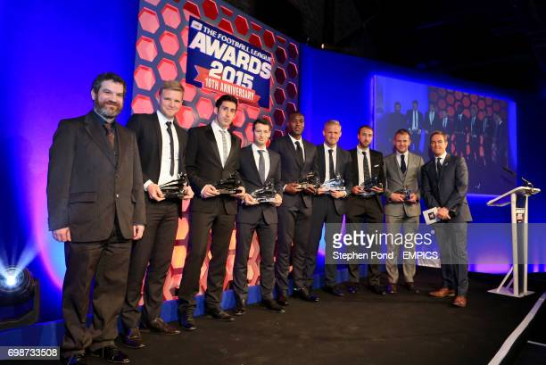Eddie Howe Peter Whittingham Wes Hoolahan Wes Morgan Kasper Schmeichel Glenn Murray and Jordan Rhodes with their Team Of the Decade Awards during the...