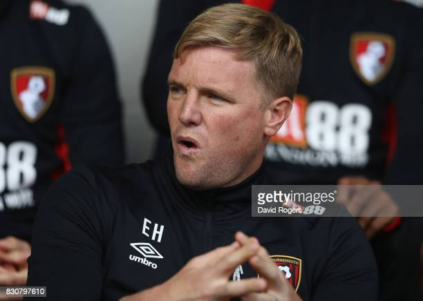 Eddie Howe the Bournemouth manager looks on during the Premier League match between West Bromwich Albion and AFC Bournemouth at The Hawthorns on...
