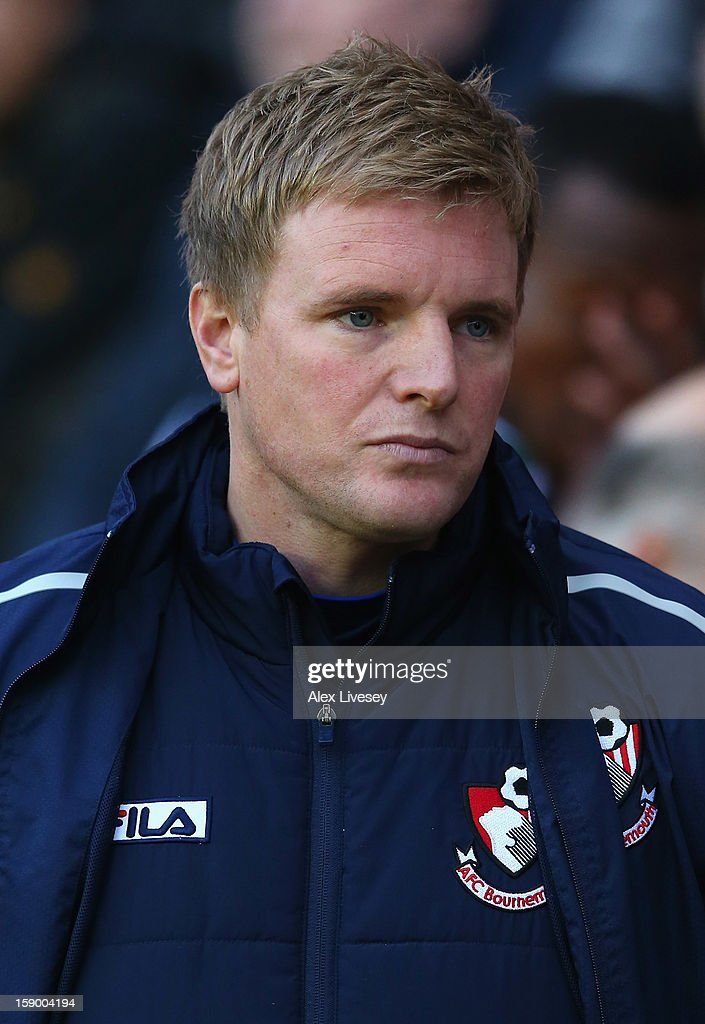 Eddie Howe the manager of AFC Bournemouth looks on during the Budweiser FA Cup Third Round match between Wigan Athletic and AFC Bournemouth at DW Stadium on January 5, 2013 in Wigan, England.