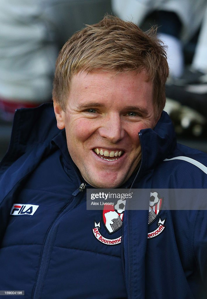 <a gi-track='captionPersonalityLinkClicked' href=/galleries/search?phrase=Eddie+Howe&family=editorial&specificpeople=2919800 ng-click='$event.stopPropagation()'>Eddie Howe</a> the manager of AFC Bournemouth looks on during the Budweiser FA Cup Third Round match between Wigan Athletic and AFC Bournemouth at DW Stadium on January 5, 2013 in Wigan, England.