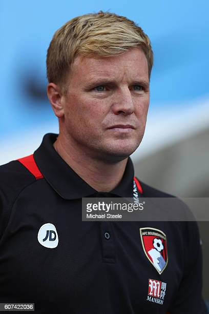 Eddie Howe the manager of Bournemouth looks on during the Premier League match between Manchester City and AFC Bournemouth at Etihad Stadium on...