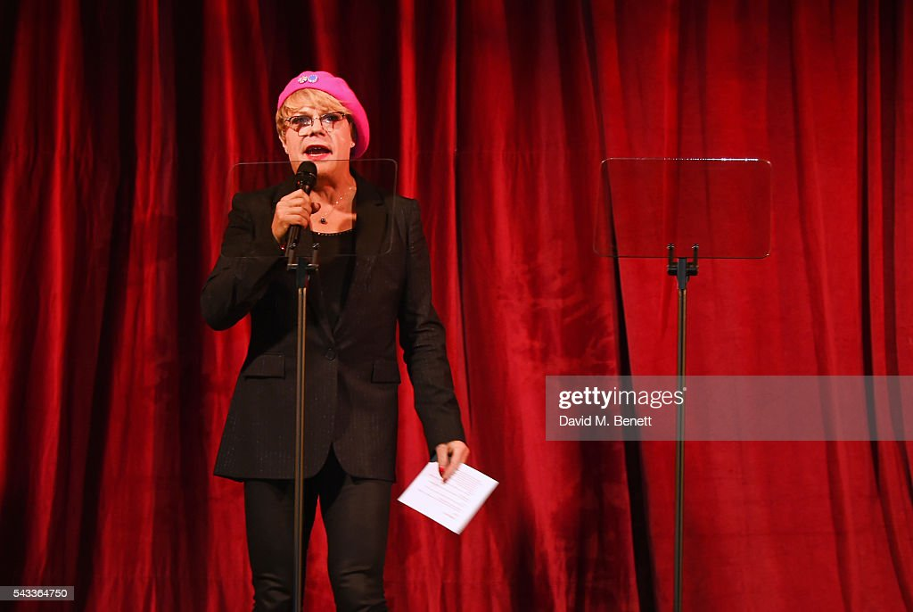 <a gi-track='captionPersonalityLinkClicked' href=/galleries/search?phrase=Eddie+Izzard&family=editorial&specificpeople=204152 ng-click='$event.stopPropagation()'>Eddie Izzard</a> performs at the Summer Gala for The Old Vic at The Brewery on June 27, 2016 in London, England.