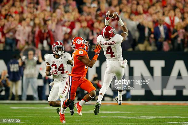 Eddie Jackson of the Alabama Crimson Tide intercepts a ball in the second quarter thrown by Deshaun Watson of the Clemson Tigers during the 2016...