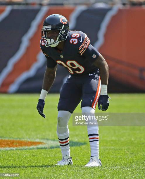 Eddie Jackson of the Chicago Bears awaits the snap against the Atlanta Falcons during the season opening game at Soldier Field on September 10 2017...