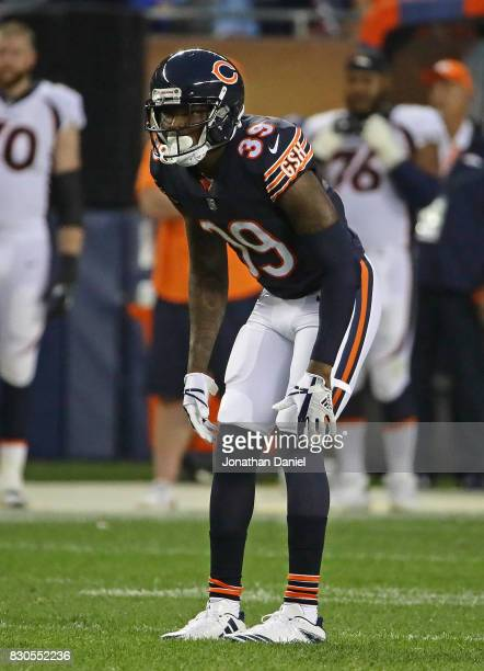 Eddie Jackson of the Chicago Bears awaits the snaps against the Denver Broncos during a preseason game at Soldier Field on August 10 2017 in Chicago...