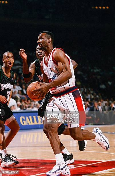 Eddie Johnson of the Houston Rockets during the game against the Minnesota Timberwolves on February 26 1998 at Compaq Center in Houston Texas