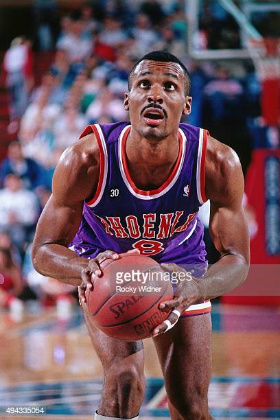 Eddie Johnson of the Phoenix Suns shoots a foul shot against the Sacramento Kings circa 1988 at Arco Arena in Sacramento California NOTE TO USER User...