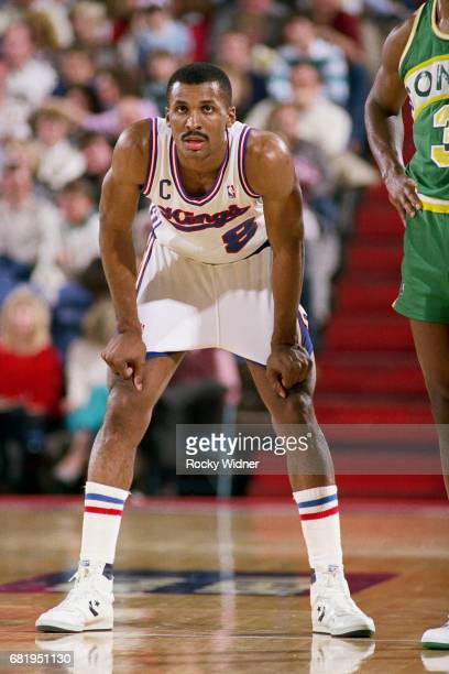Eddie Johnson of the Sacramento Kings rests against the Seattle SuperSonics during a game played circa 1987 at Arco Arena in Sacramento California...
