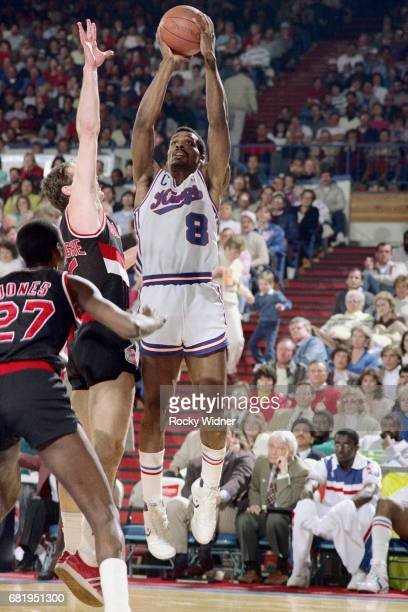 Eddie Johnson of the Sacramento Kings shoots against the Portland Trail Blazers during a game played circa 1987 at Arco Arena in Sacramento...