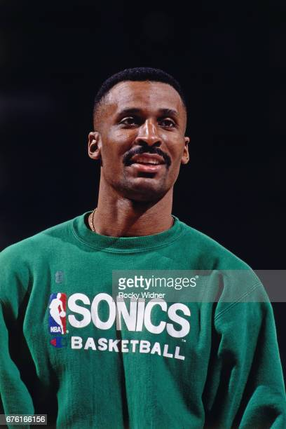 Eddie Johnson of the Seattle SuperSonics looks on against the Sacramento Kings circa 1993 at Arco Arena in Sacramento California NOTE TO USER User...