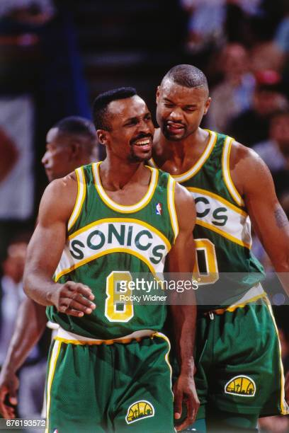 Eddie Johnson of the Seattle SuperSonics talk against the Sacramento Kings circa 1992 at Arco Arena in Sacramento California NOTE TO USER User...