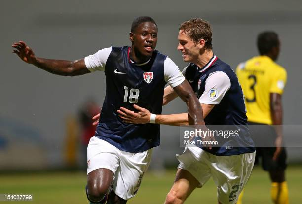 Eddie Johnson of the United States celebrates scoring a goal during a World Cup Qualifying game against Antigua and Barbuda at Sir Vivian Richards...